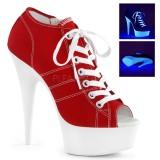 Rojo Neon 15 cm DELIGHT-600SK-01 Zapatos de lona con tacón