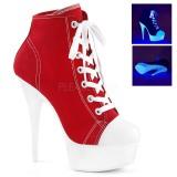 Rojo Neon 15 cm DELIGHT-600SK-02 Zapatos de lona con tacón