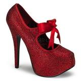Rojo Piedras Strass 14,5 cm Burlesque TEEZE-04R Plataforma Zapato Salón