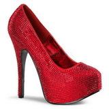 Rojo Piedras Strass 14,5 cm Burlesque TEEZE-06R Plataforma Zapato Salón
