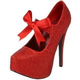 Rojo Piedras Strass 14,5 cm TEEZE-04R Plataforma Zapato Salón