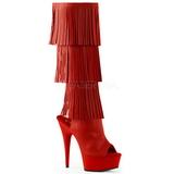Rojo Polipiel 15 cm DELIGHT-2019-3 botas con flecos de mujer tacón altos