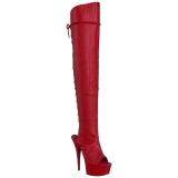 Rojo Polipiel 15 cm DELIGHT-3019 Botas Altas Plataforma