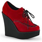 Rojo Polipiel CREEPER-302 zapatos de cuñas creepers mujer