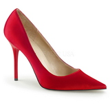 Rojo Satinado 10 cm CLASSIQUE-20 Stiletto Zapatos Tacon de Aguja