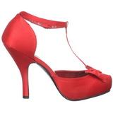 Rojo Satinado 12 cm CUTIEPIE-12 Calzado de Salón Planos Tacón
