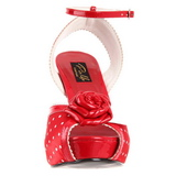 Rojo Satinado 12 cm PINUP retro vintage BETTIE-06 Plataforma Tacones de Aguja