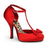 Rojo Satinado 12 cm retro vintage CUTIEPIE-12 zapatos de salón tacón bajo