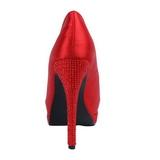 Rojo Satinado 13,5 cm BELLA-12R Strass Plataforma Zapato Salón