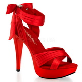 Rojo Satinado 13 cm COCKTAIL-568 Zapatos de Tacón Alto