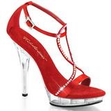 Rojo Satinado 13 cm LIP-156 Sandalias Femininas Planos