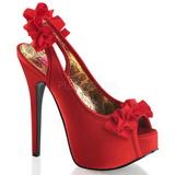 Rojo Satinado 14,5 cm Burlesque TEEZE-56 Zapatos de Tacón Alto