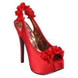 Rojo Satinado 14,5 cm TEEZE-56 Zapatos de Tacón Alto