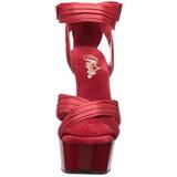 Rojo Satinado 15 cm DELIGHT-668 Sandalias Altos de Noche con Tacón