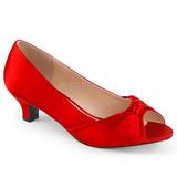 Rojo Satinado 5 cm FAB-422 zapatos de salón tallas grandes
