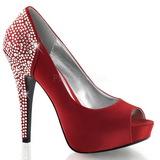 Rojo Strass 13 cm LOLITA-08 Zapato Salón de Noche con Tacón