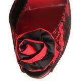 Rojo Tela de Encaje 13,5 cm BELLA-17 Sandalias Altos de Noche con Tacón