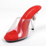 Rojo Transparente 11 cm Pleaser CARESS-401FL Plataforma Mules Altos