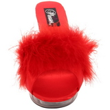 Rojo Transparente 13 cm Fabulicious LIP-101-8 Plataforma Mules Altos