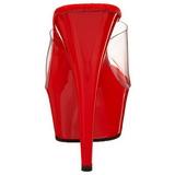 Rojo Transparente 15,5 cm DELIGHT-601 Plataforma Mules Altos