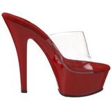 Rojo Transparente 15,5 cm KISS-201 Plataforma Mules Altos