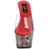 Rojo Transparente 18 cm ADORE-701FL Plataforma Mules Altos