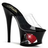 Rojo Transparente 18 cm Pleaser MOON-701HRS Plataforma Mules Altos