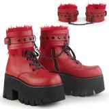 Rojo Vegano 9 cm ASHES-57 lolita botines tacón ancho plataforma