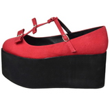 Rojo lona 8 cm CLICK-08 zapatos góticos calzados suela gruesa