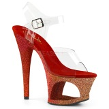 Rojo purpurina 18 cm Pleaser MOON-708OMBRE Zapatos con tacones pole dance
