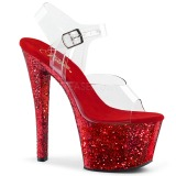 Rojo purpurina 18 cm Pleaser SKY-308LG Zapatos con tacones pole dance