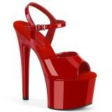 Rojo sandalias pleaser con plataforma 18 cm PASSION-709