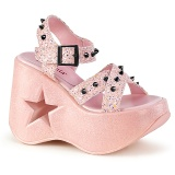 Rosa 13 cm Demonia DYNAMITE-02 lolita zapatos sandalias con cuña alta