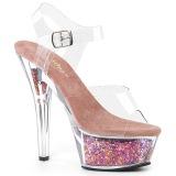 Rosa 15 cm KISS-208GF brillo plataforma sandalias de tacón alto