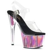 Rosa 18 cm ADORE-708HGI Holograma plataforma sandalias de tacón alto