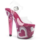 Rosa 18 cm LOVESICK-708HEART Zapatos tacón altos mujer Piedras Brillantes