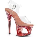 Rosa 18 cm MOON-708GFT brillo plataforma sandalias de tacón alto