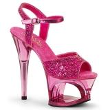 Rosa 18 cm MOON-710GT brillo plataforma sandalias de tacón alto