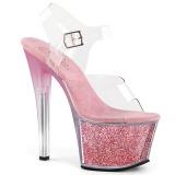 Rosa 18 cm SKY-308G-T brillo plataforma sandalias de tacón alto