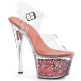 Rosa 18 cm SKY-308GF brillo plataforma sandalias de tacón alto