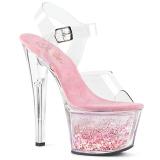 Rosa 18 cm SKY-308WHG brillo plataforma sandalias de tacón alto
