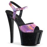 Rosa 18 cm SKY-309HG Holograma plataforma sandalias de tacón alto