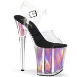 Rosa 20 cm FLAMINGO-808HGI Holograma plataforma sandalias de tacón alto
