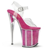 Rosa 20 cm FLAMINGO-808SRS Sandalias Mujer Plataforma Strass