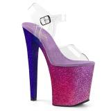 Rosa 20 cm XTREME-808OMBRE brillo plataforma sandalias de tacón alto