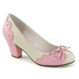 Rosa 6,5 cm WIGGLE-17 Pinup zapatos de salón tacón ancho