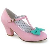 Rosa 6,5 cm WIGGLE-50 Pinup zapatos de salón tacón ancho