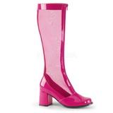 Rosa 8,5 cm GOGO-307 malla botas de mujer tacón altos