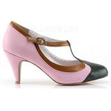 Rosa 8 cm PEACH-03 Pinup zapatos de salón tacón bajo