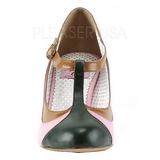 Rosa 8 cm retro vintage PEACH-03 Pinup zapatos de salón tacón bajo